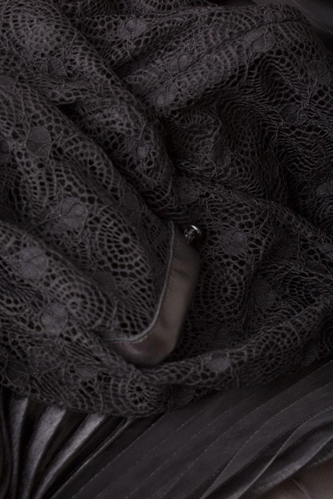 Lace-trimmed pleated leather maxi dress LUWA image 4
