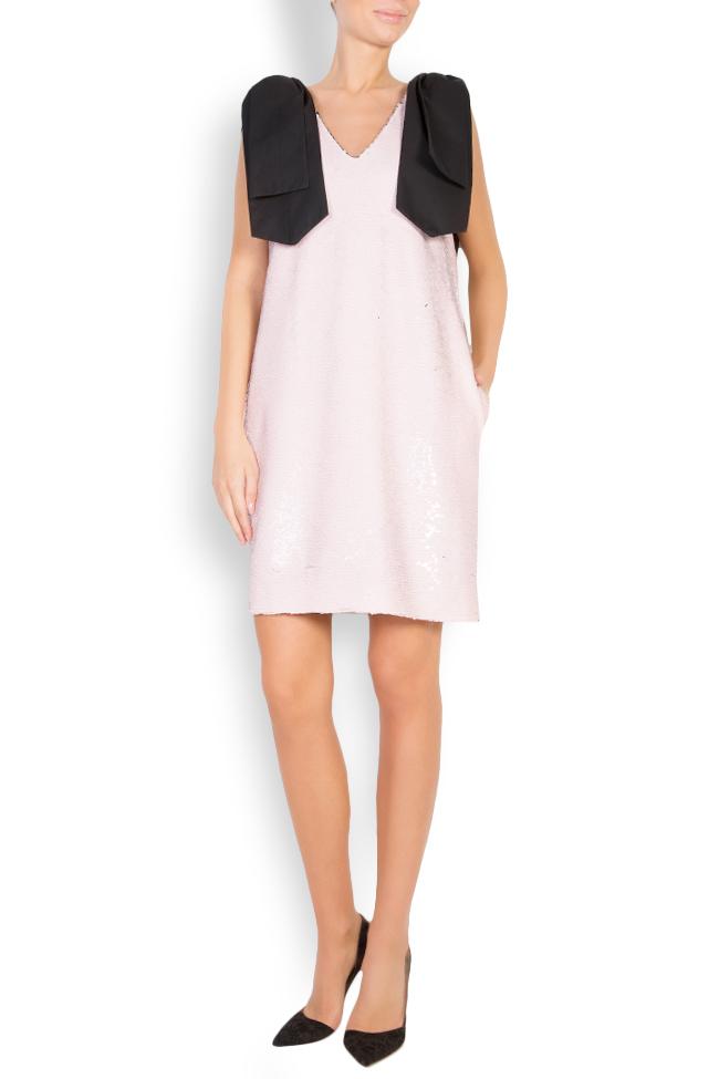 Luna bow-embellished sequined tulle mini dress Framboise image 0