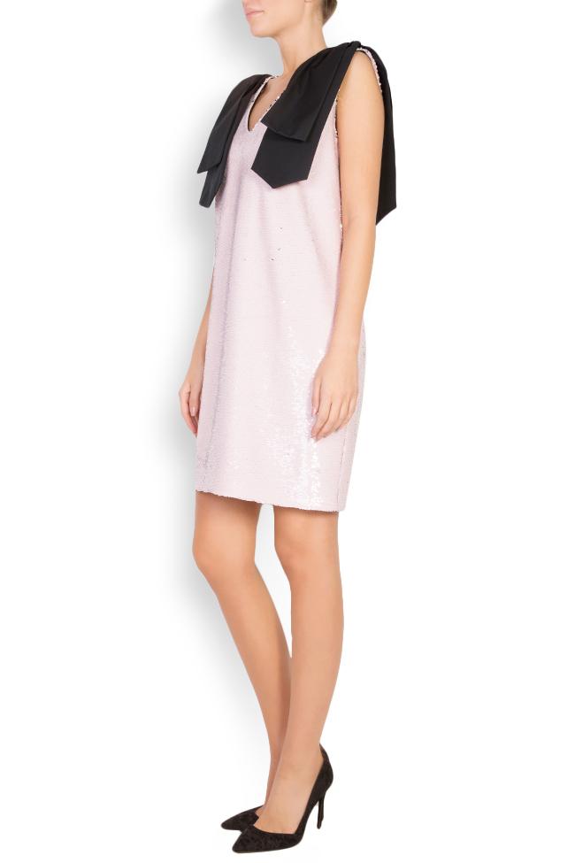 Luna bow-embellished sequined tulle mini dress Framboise image 1