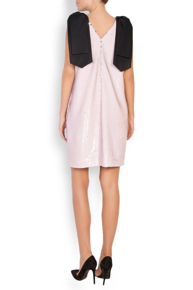 Luna bow-embellished sequined tulle mini dress Framboise image 2