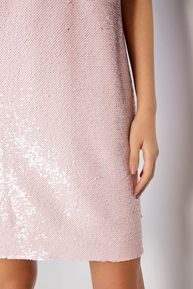 Luna bow-embellished sequined tulle mini dress Framboise image 3
