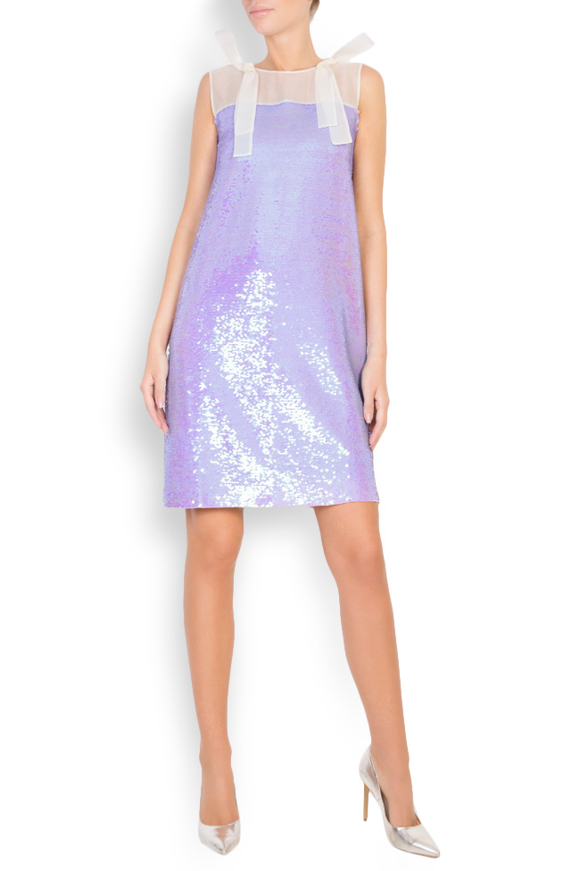 Ariana silk-organza sequined mini dress Framboise image 0