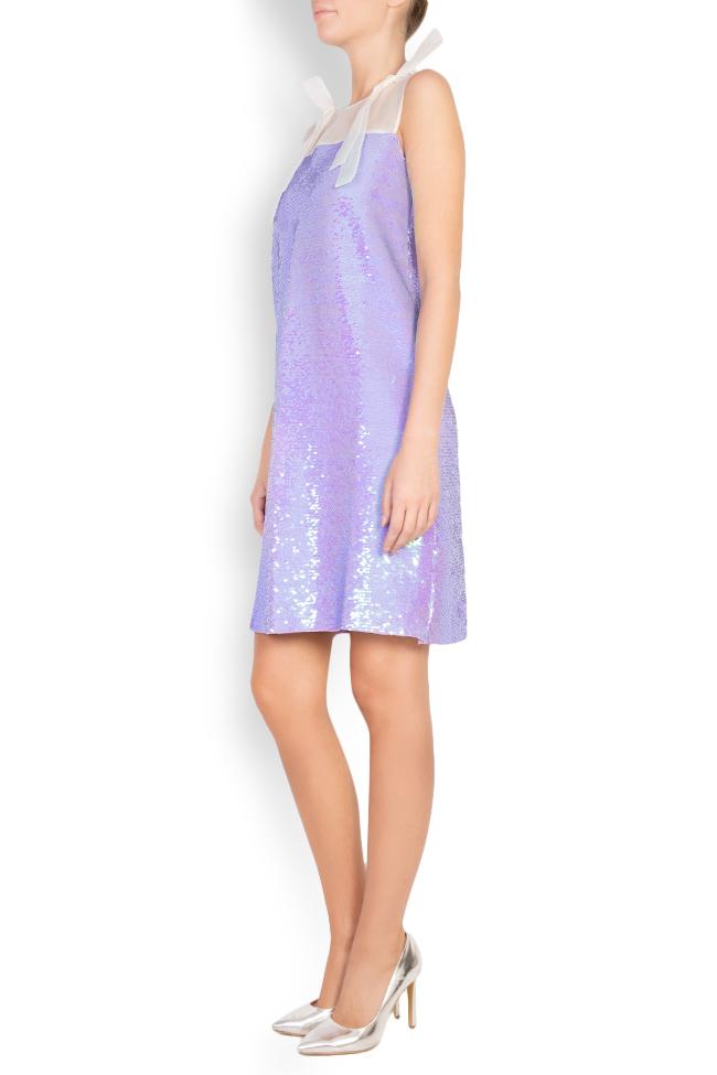 Ariana silk-organza sequined mini dress Framboise image 1