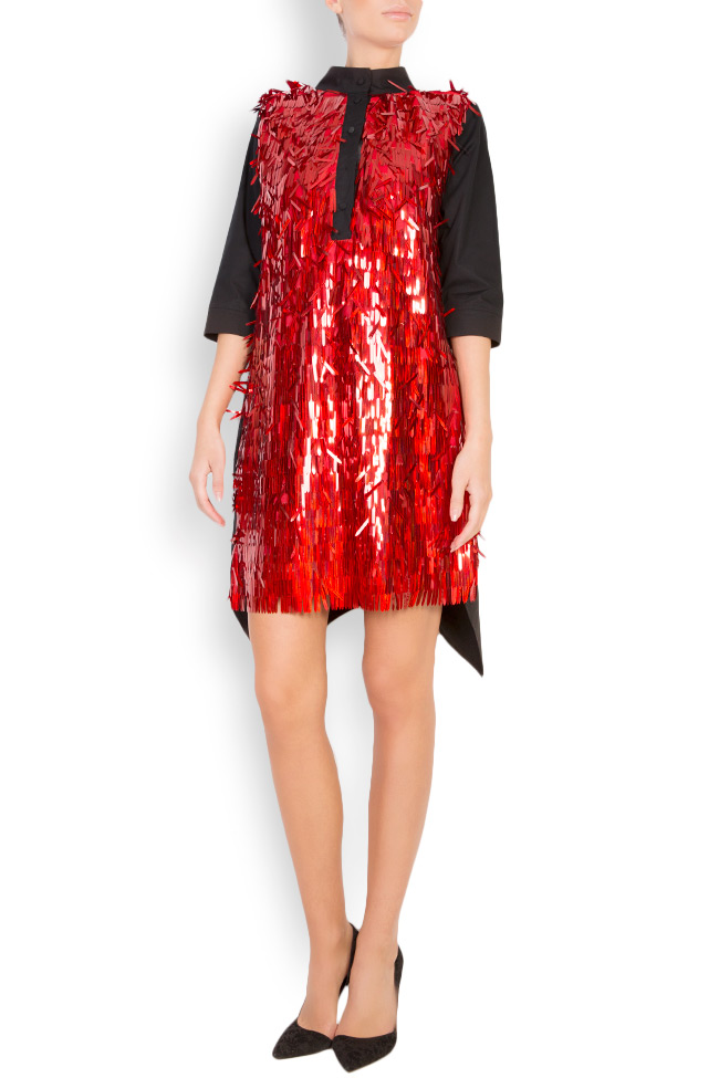 Nora asymmetric paillette-embellished cotton shirt dress Framboise image 0