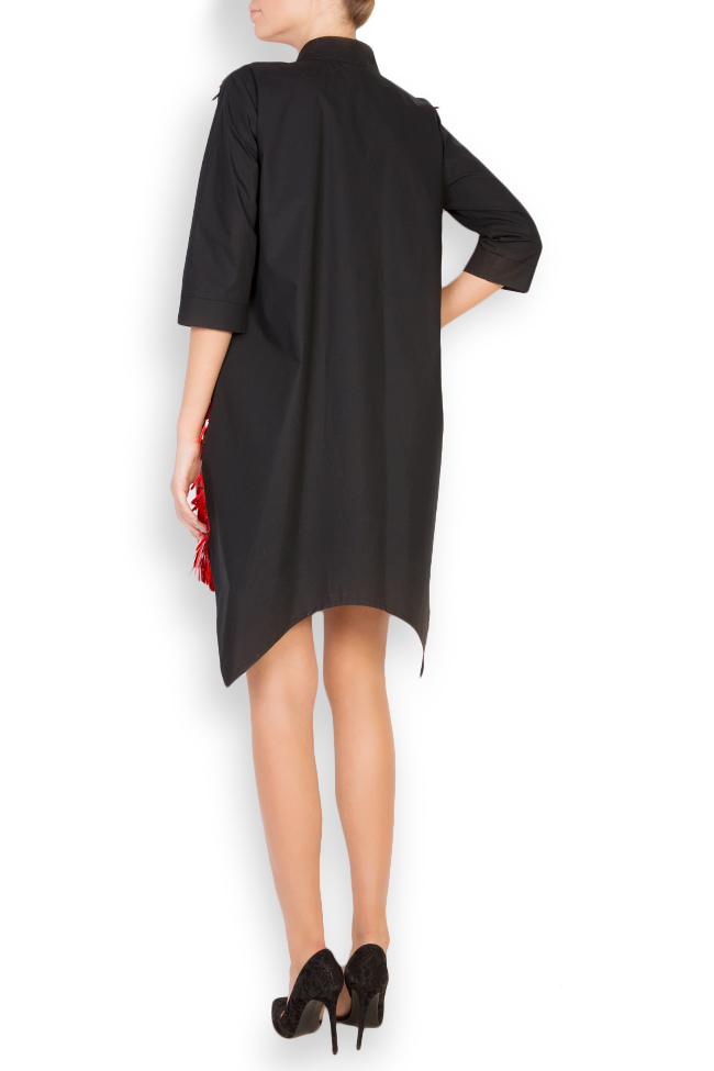 Nora asymmetric paillette-embellished cotton shirt dress Framboise image 2