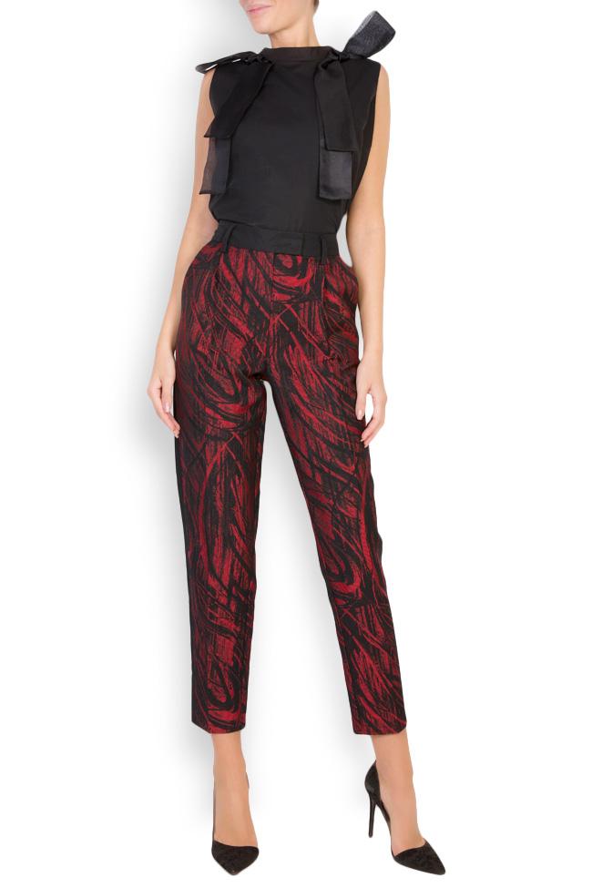 Madison cotton-blend jaquard pants Framboise image 0