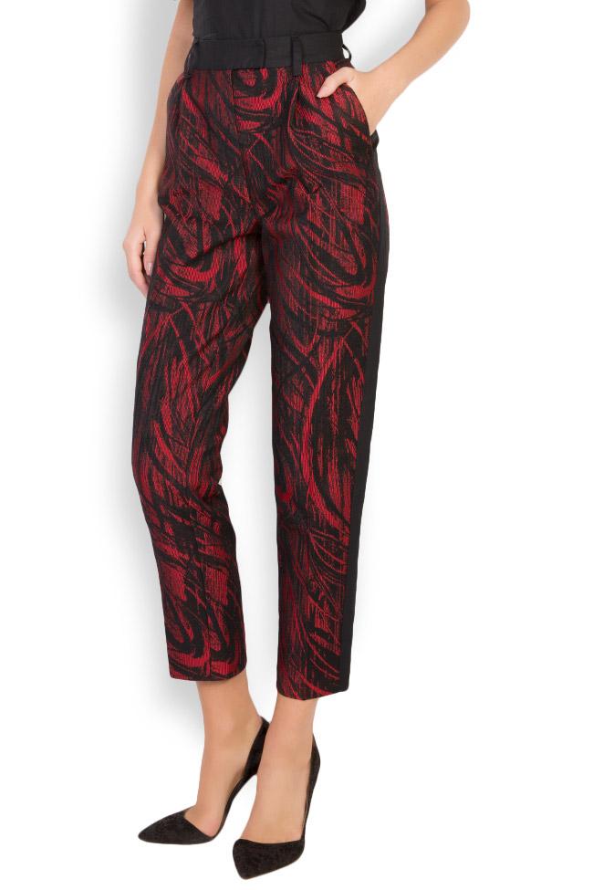 Madison cotton-blend jaquard pants Framboise image 1