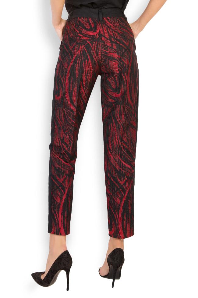 Madison cotton-blend jaquard pants Framboise image 2