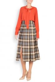Cloche Checked pleated wool midi skirt