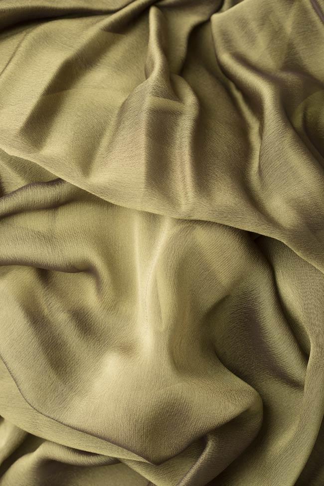 Fusta plisata cu slit din amestec de matase Cloche imagine 4