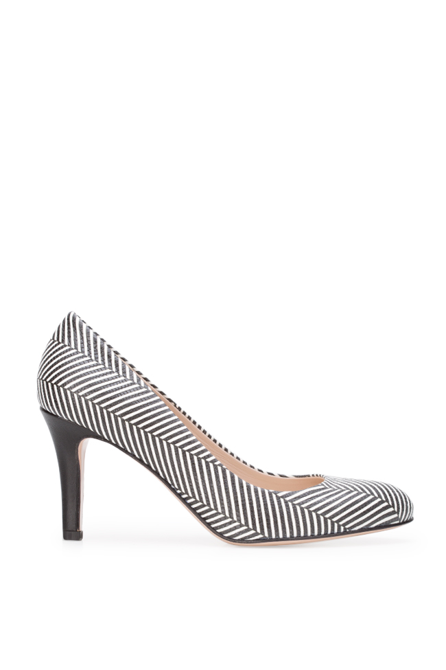 Agata75 striped leather pumps Ginissima image 0