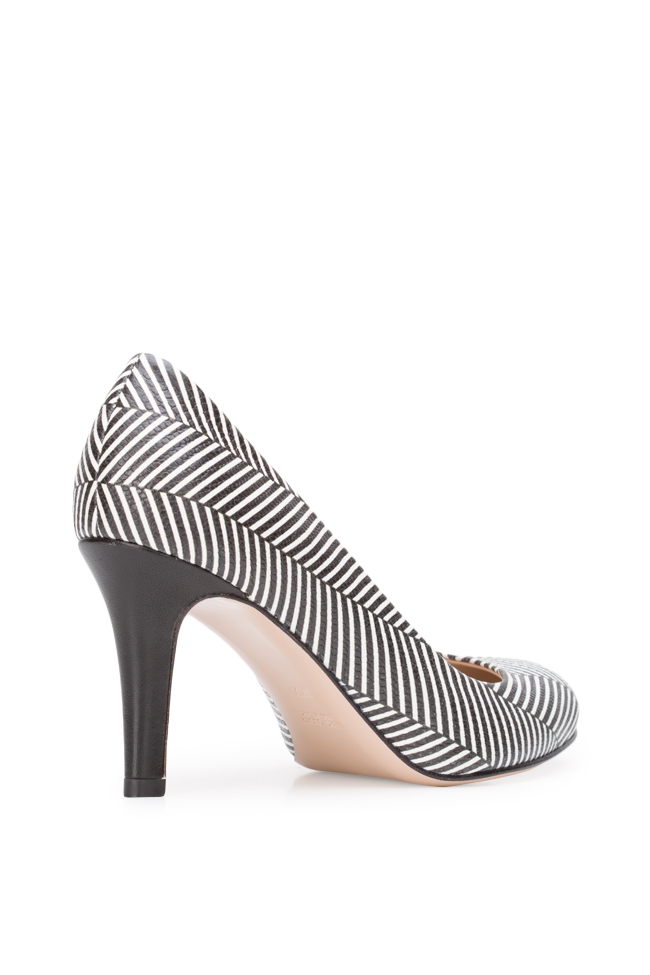 Agata75 striped leather pumps Ginissima image 1
