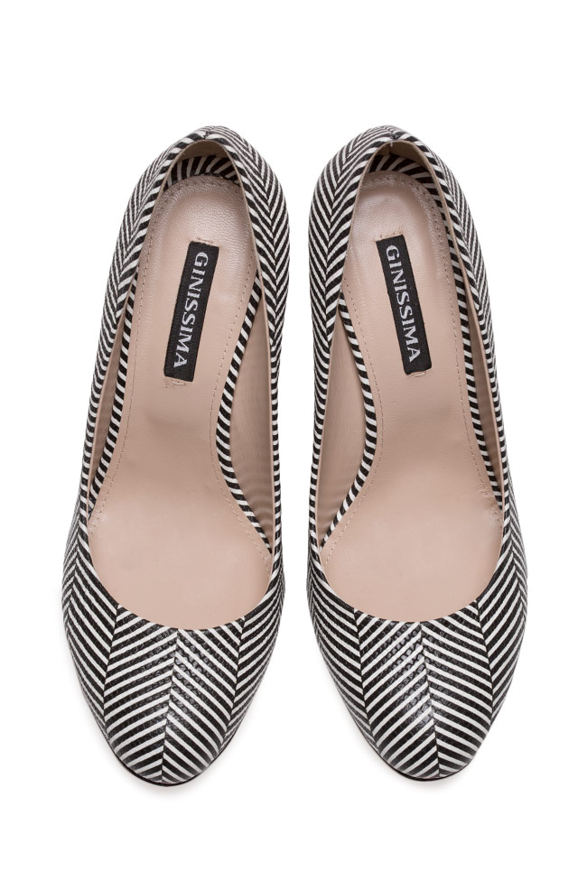 Agata75 striped leather pumps Ginissima image 2