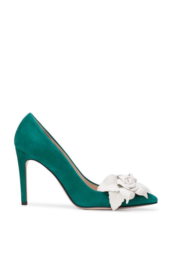 Pantofi din piele intoarsa cu aplicatii florale din piele  Ginissima imagine 0