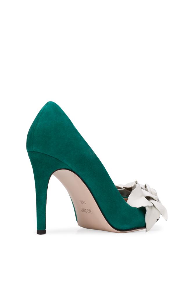 Pantofi din piele intoarsa cu aplicatii florale din piele  Ginissima imagine 1