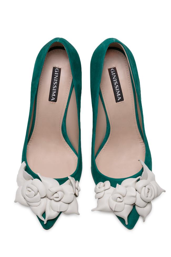 Pantofi din piele intoarsa cu aplicatii florale din piele  Ginissima imagine 2