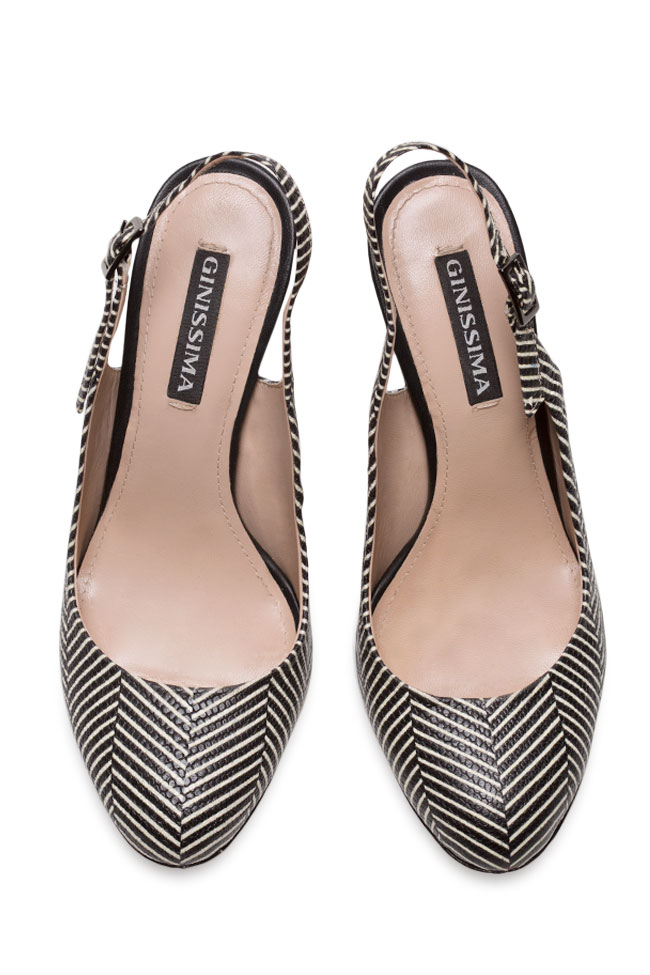 Agata90 printed leather slingback pumps Ginissima image 2
