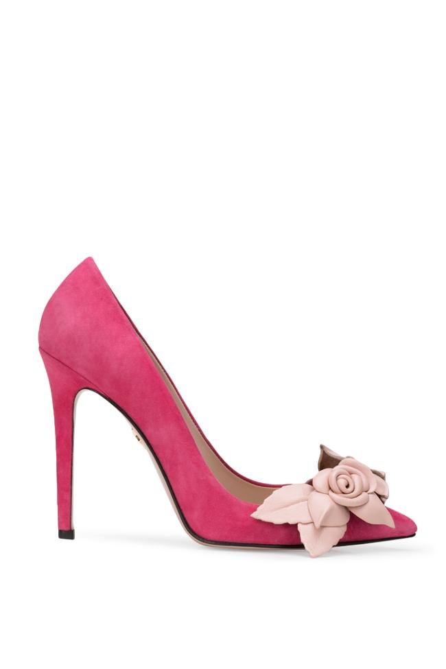 Chaussures en daim avec applications florales de cuir Ginissima image 0