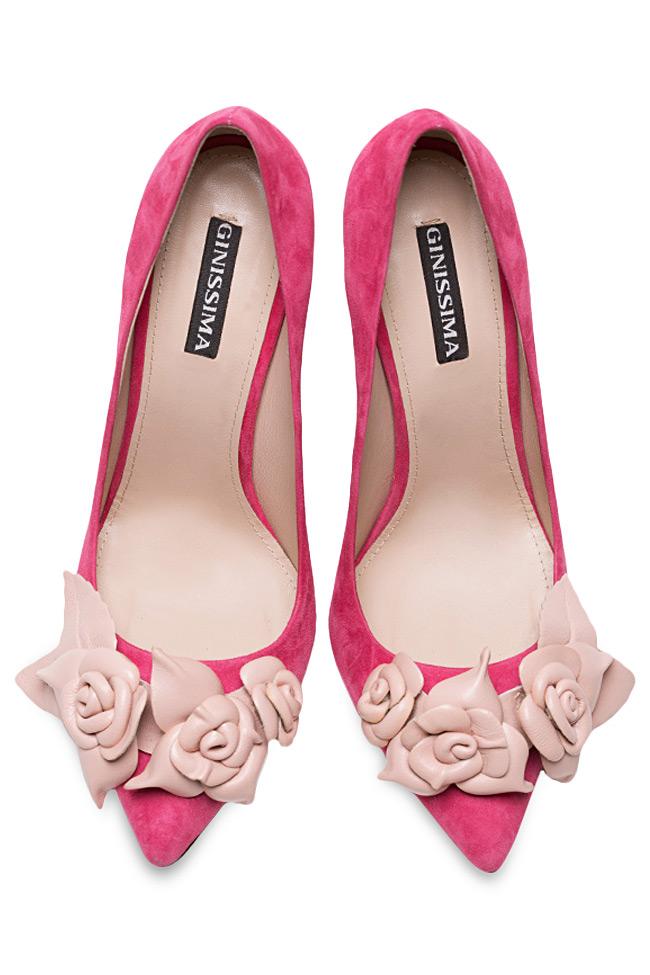 Chaussures en daim avec applications florales de cuir Ginissima image 2