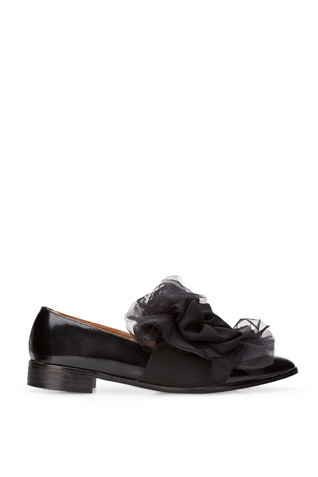 Tulle-detailed leather Oxford shoes Mihaela Gheorghe image 0