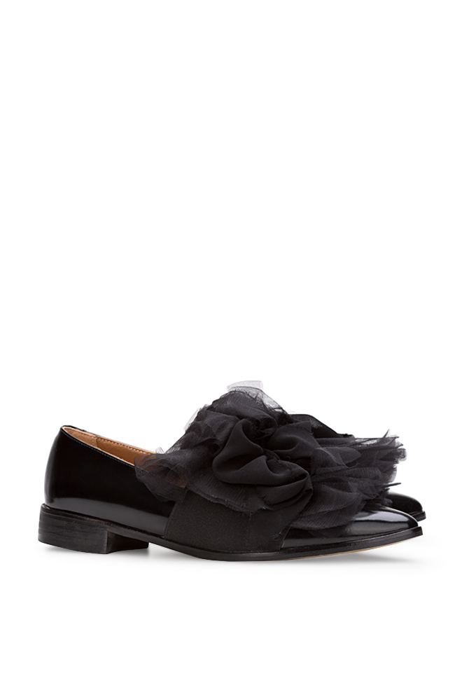 Tulle-detailed leather Oxford shoes Mihaela Gheorghe image 1
