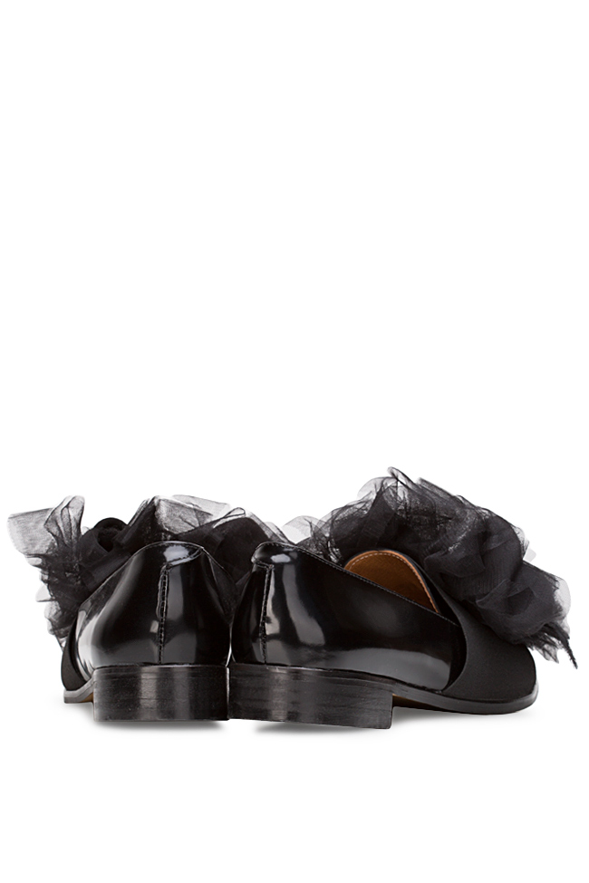 Tulle-detailed leather Oxford shoes Mihaela Gheorghe image 2