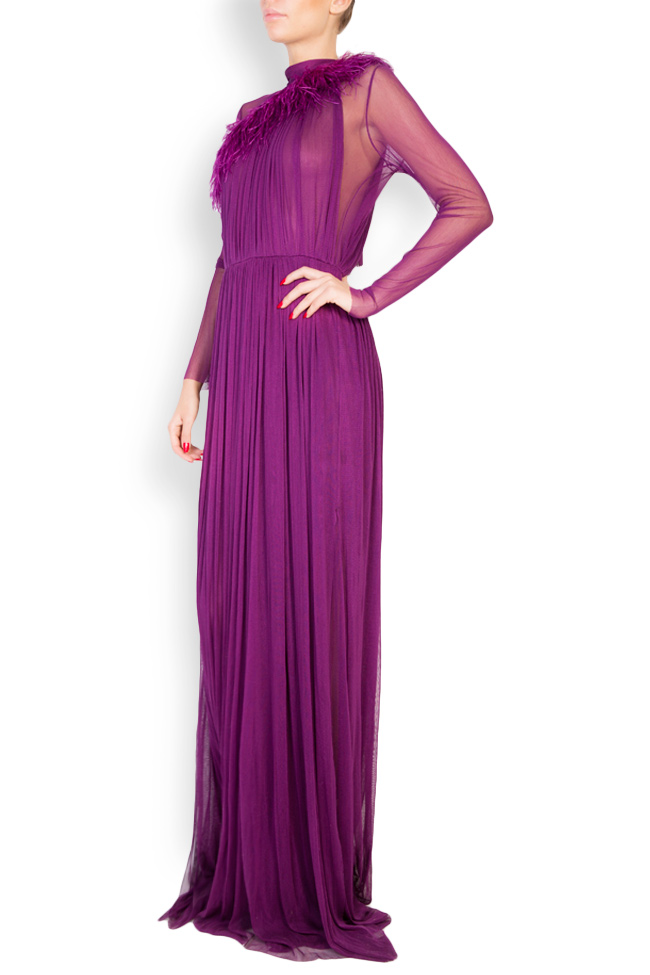 Feather-trimmed silk tulle maxi dress Aureliana image 1