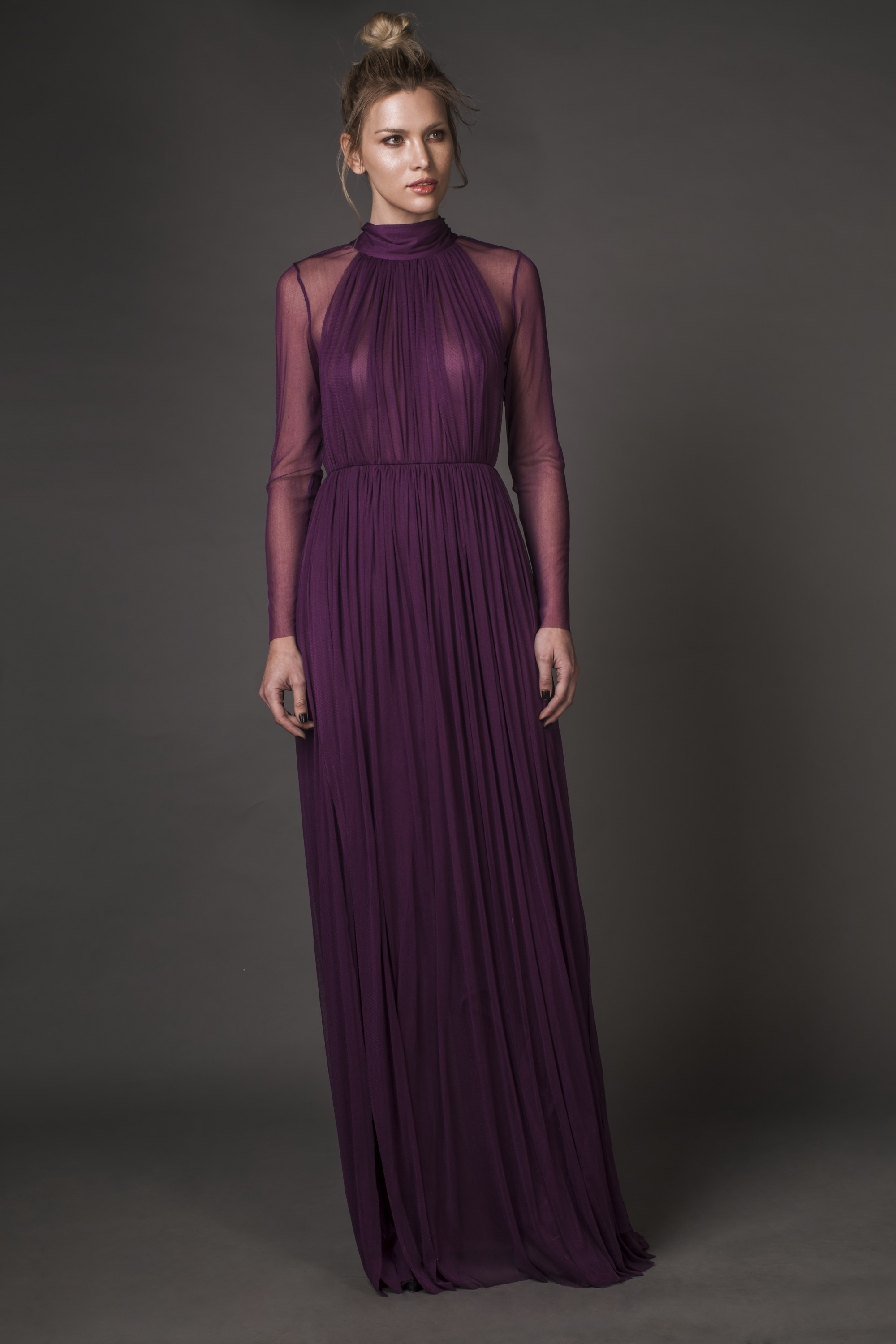 Feather-trimmed silk tulle maxi dress Aureliana image 4