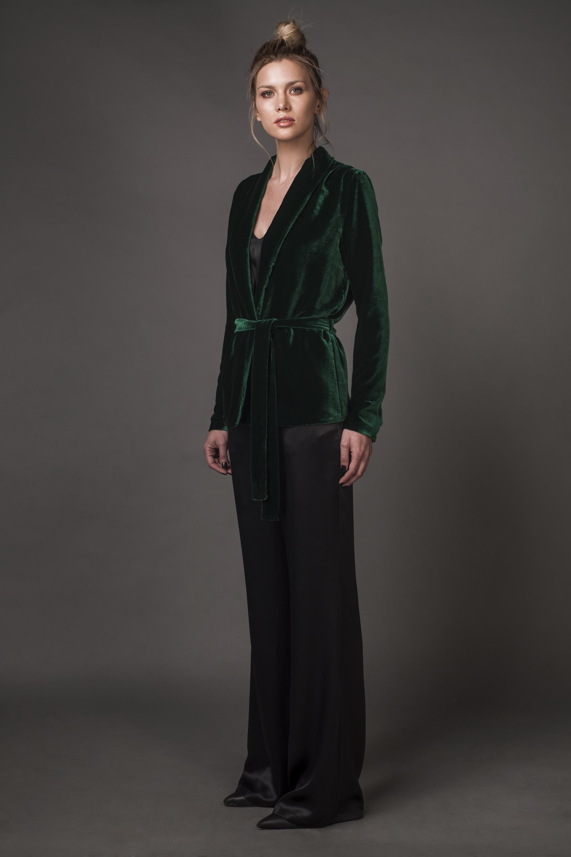 Veste en velours de soie avec cordon Aureliana image 4