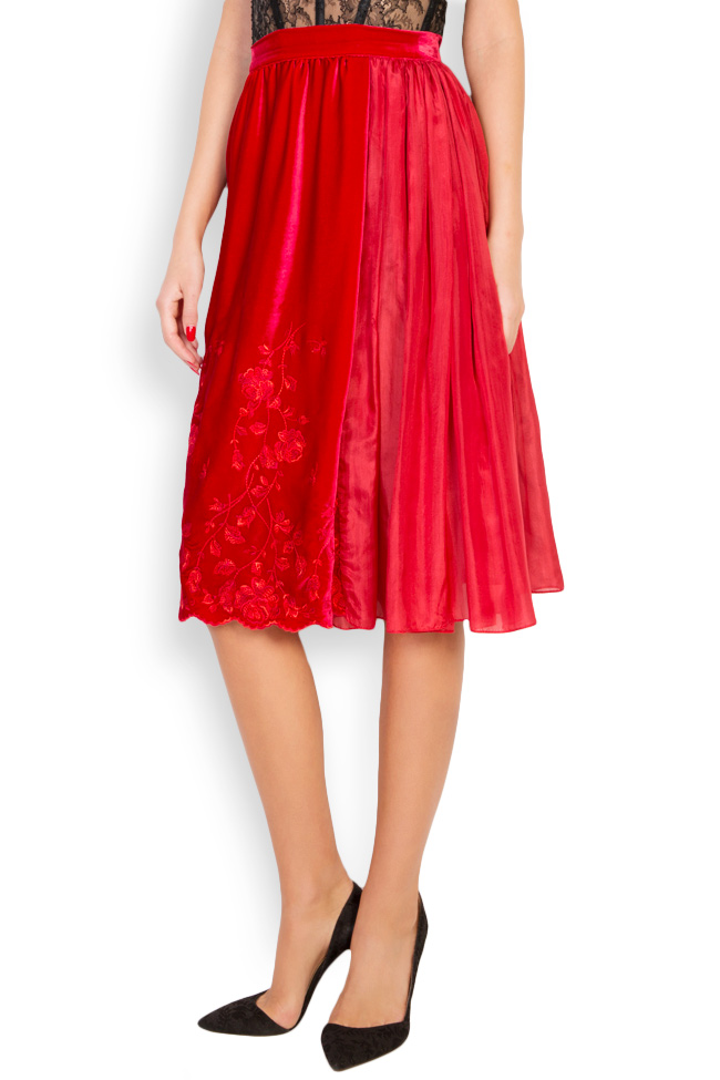 Embroidered silk-velvet midi skirt Aureliana image 1
