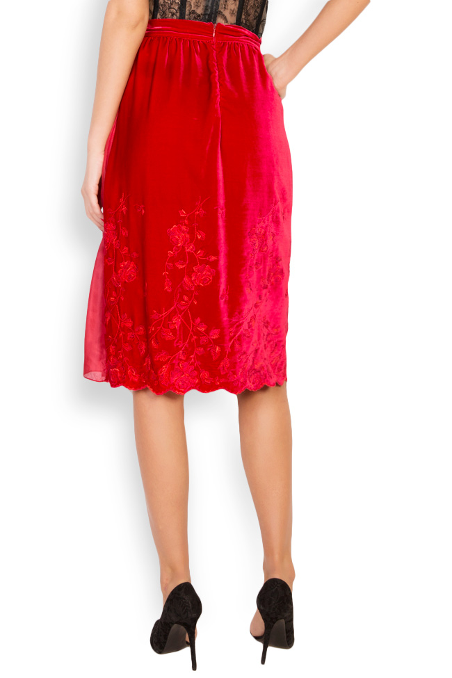 Embroidered silk-velvet midi skirt Aureliana image 2