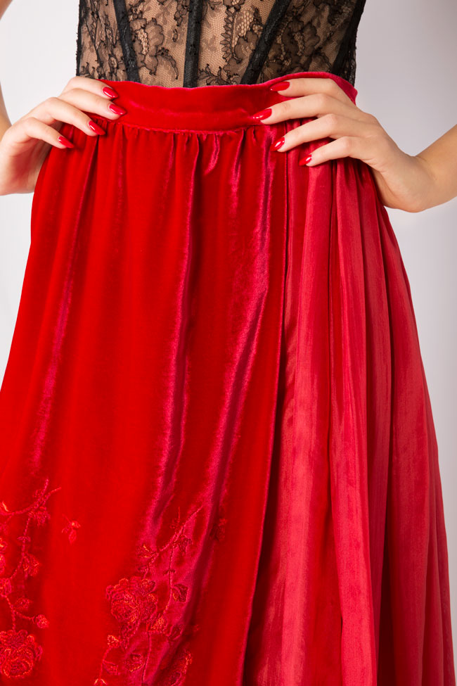 Embroidered silk-velvet midi skirt Aureliana image 3