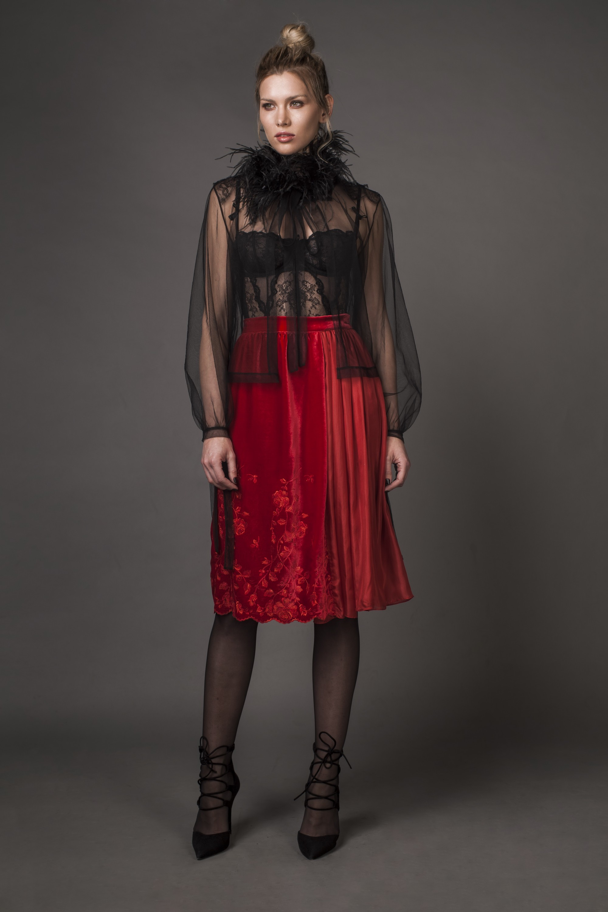 Embroidered silk-velvet midi skirt Aureliana image 4