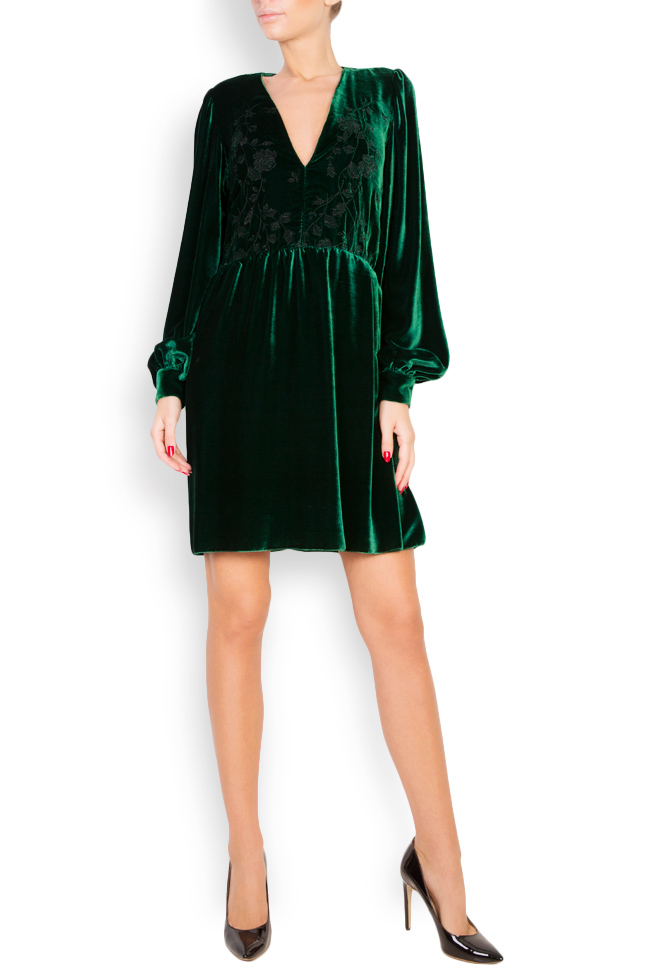Embroidered silk-velvet dress Aureliana image 0