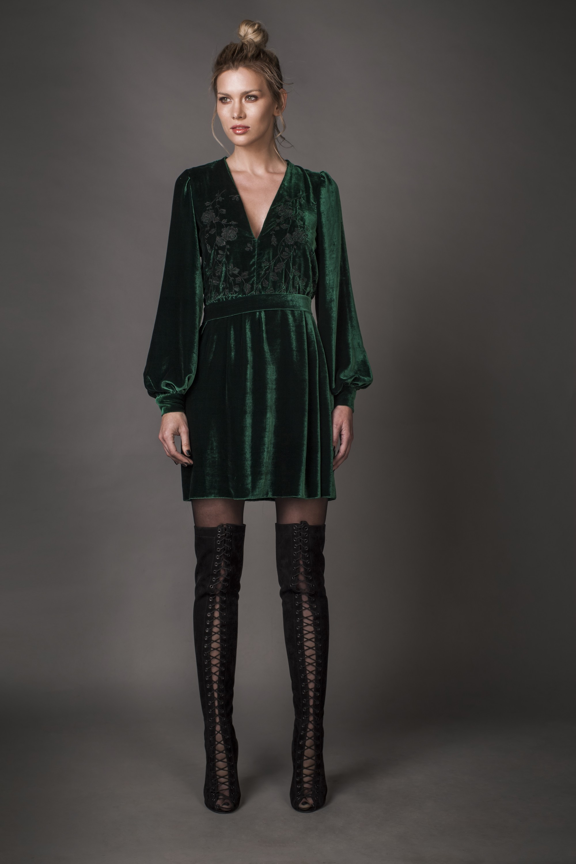 Embroidered silk-velvet dress Aureliana image 4