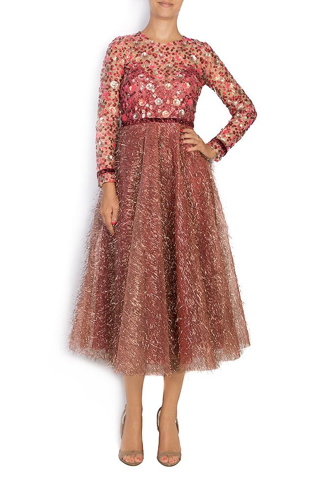 La robe en tulle métallisé avec broderie 3D et applications de velours  Simona Semen image 0
