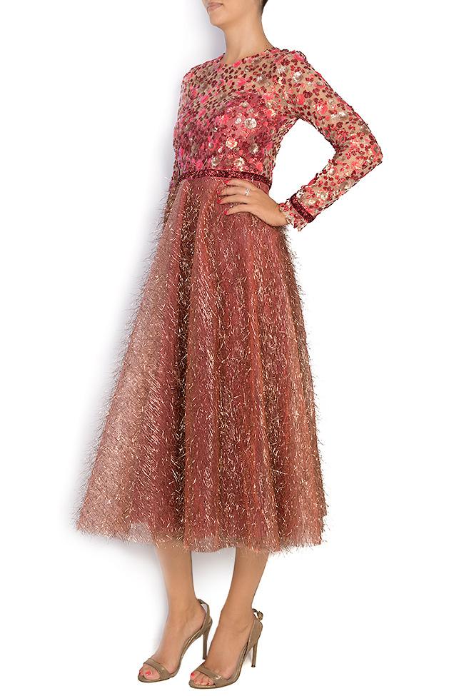 La robe en tulle métallisé avec broderie 3D et applications de velours  Simona Semen image 1