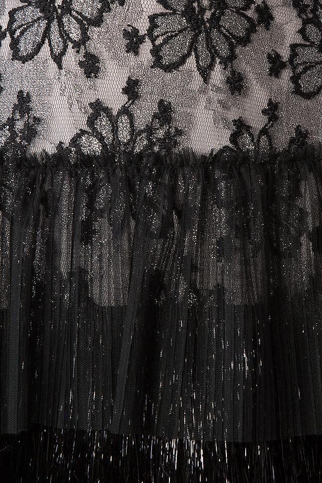 Rochie din tul catifea si dantela cu peplum Faine Simona Semen imagine 4