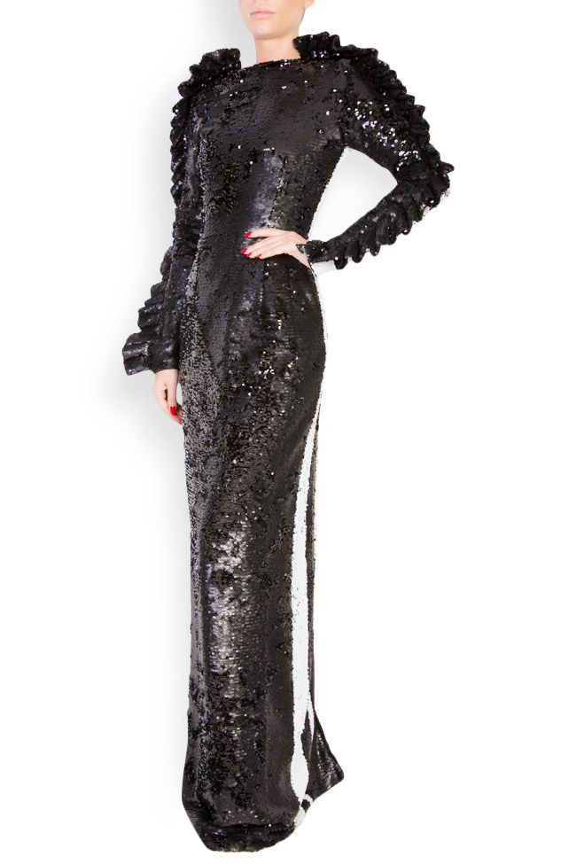 Open-back ruffled sequined maxi dress LOOMY image 1