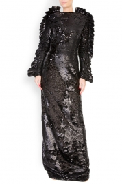LOOMY Open-back ruffled sequined maxi dress