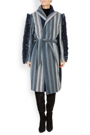 LOOMY Wool-trimmed ruffled denim trench coat