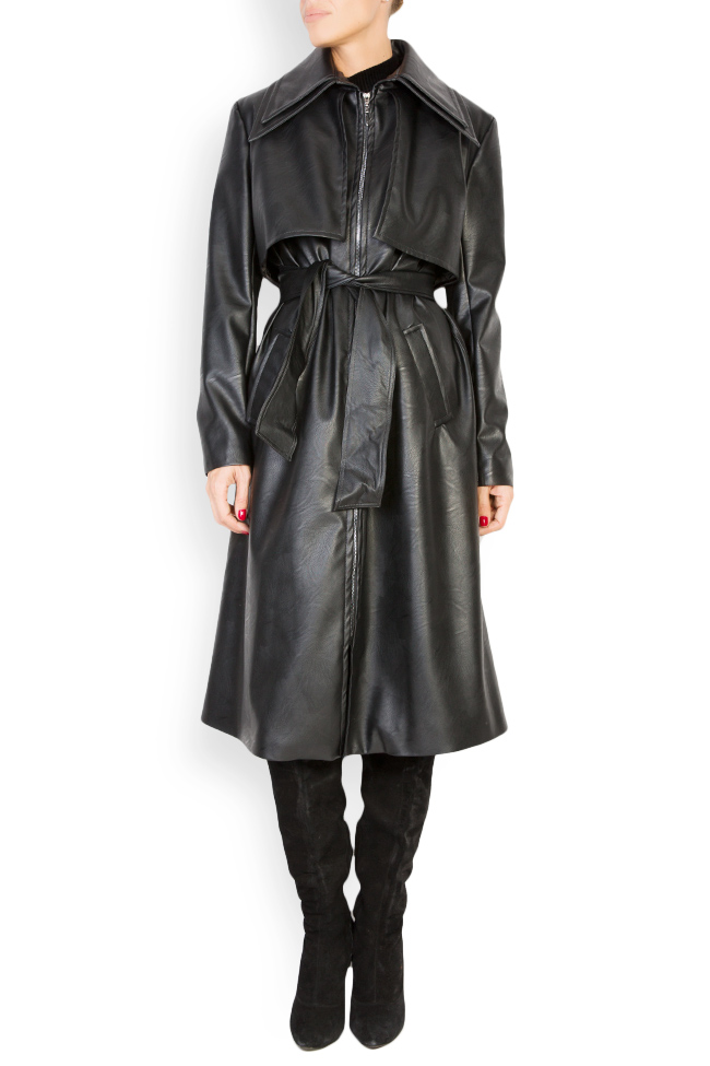 Oversized faux-leather trench coat LOOMY image 0