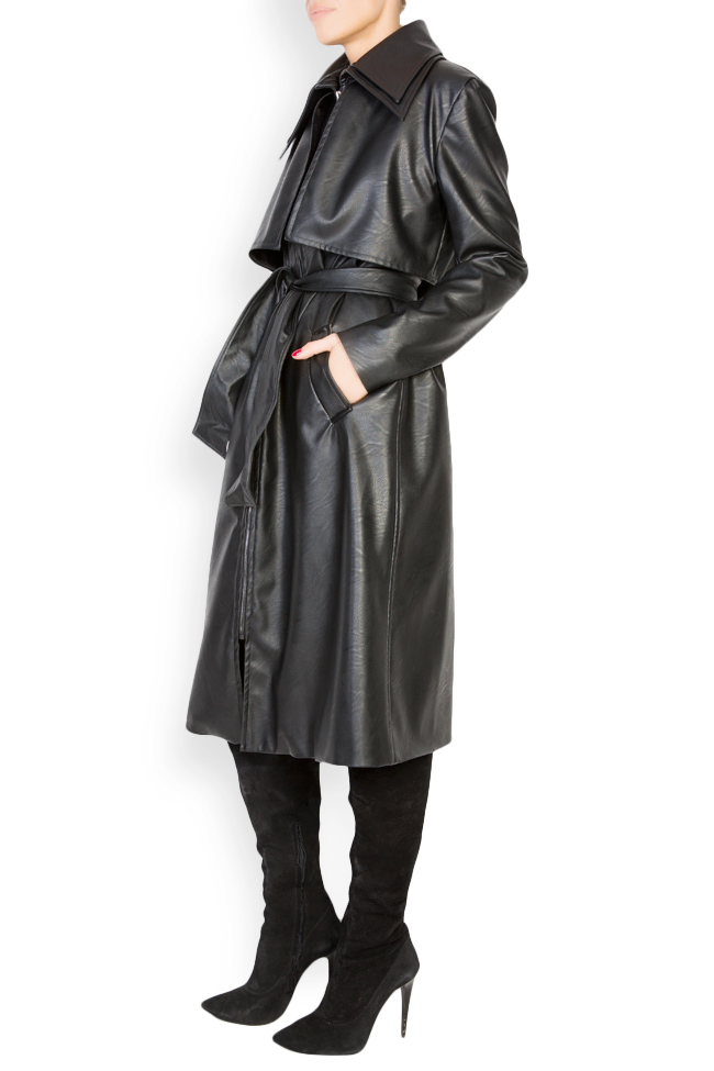 Oversized faux-leather trench coat LOOMY image 1