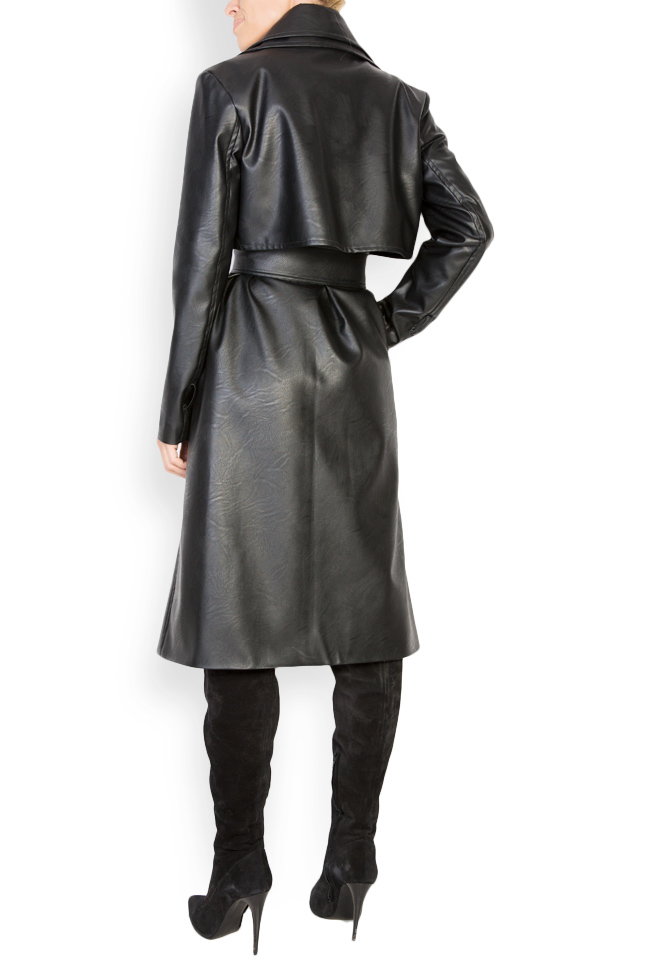 Oversized faux-leather trench coat LOOMY image 2