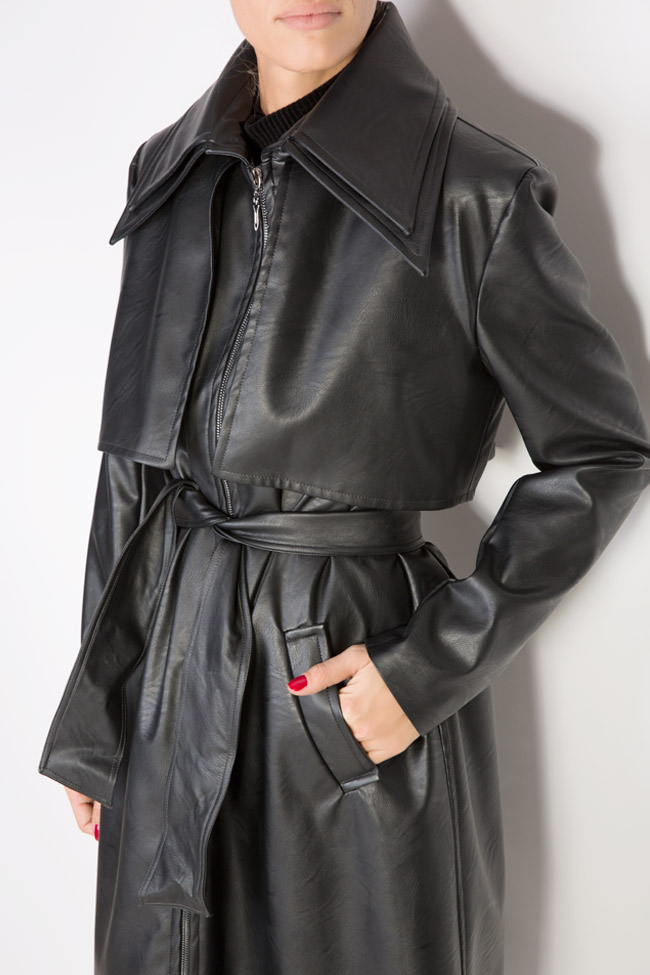 Oversized faux-leather trench coat LOOMY image 3