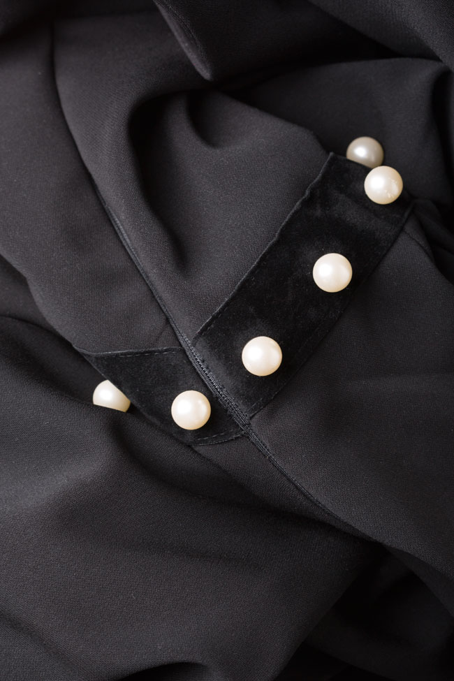Rochie din crep din amestec de matase cu aplicatii brodate Vitoria imagine 4