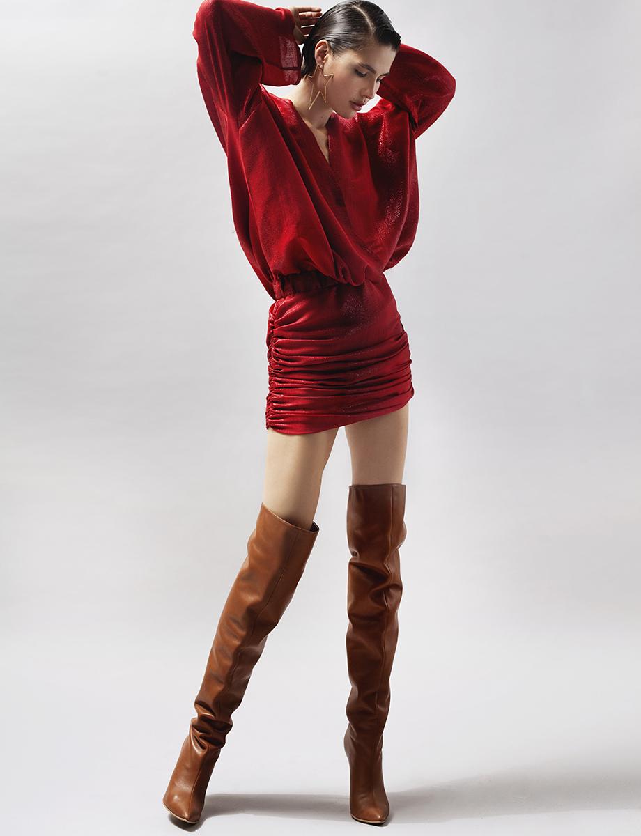 Rochie din amestec de lana si matase metalizata Kaya Manuri imagine 4