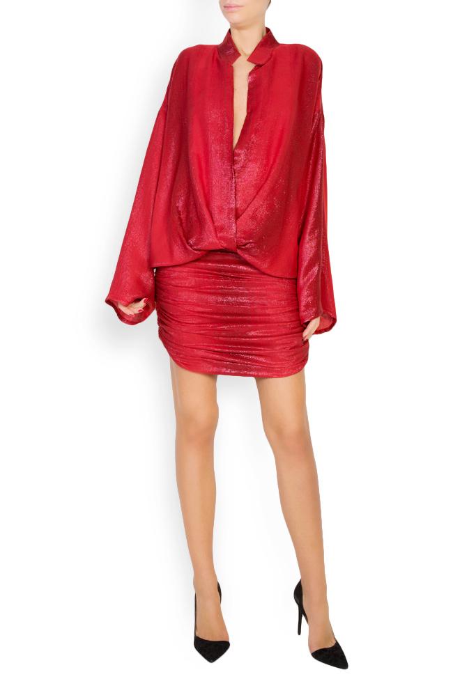Kaya metallic silk wool-blend mini dress Manuri image 0