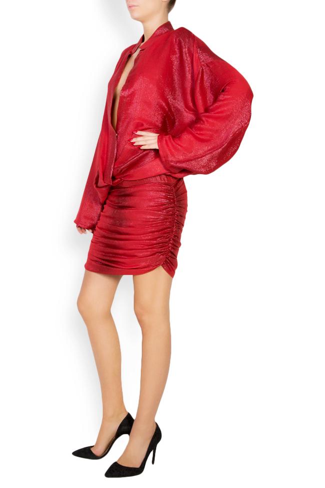 Kaya metallic silk wool-blend mini dress Manuri image 1