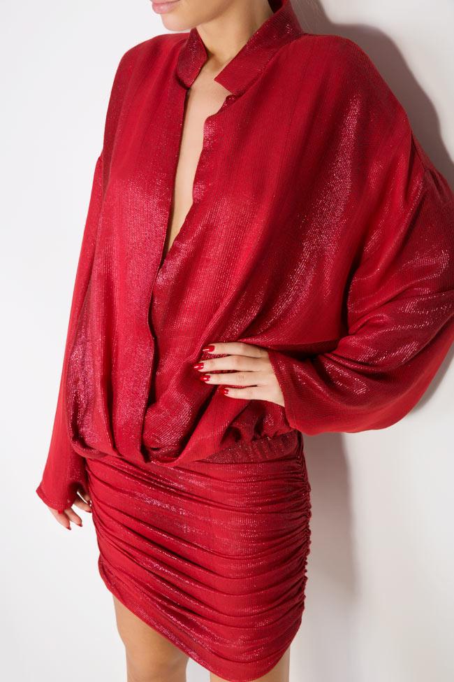 Kaya metallic silk wool-blend mini dress Manuri image 3